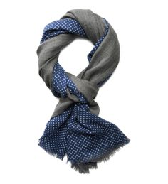 Loro Piana - Pois - Cashmere   silk scarf with polka dot print on one side  and grey melange block colour on the other. 28949c99c7b