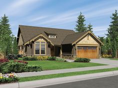 A warm hearth lights the great room in this one level Craftsman style home.  Craftsman Home Plan # 441001.