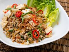 Pork Larb (Thai Salad with Pork, Cilantro, basil, mint, garlic, shallots, Chili, and Toasted Rice Powder) I made it with chicken.  So Yummy.