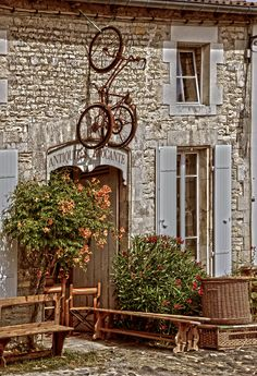 "sweetlysurreal: "" Saint Martin en Re by SomethingNotMatter "" French Images, Italian Cafe, Under The Tuscan Sun, Cafe Bistro, Cafe Interior, Antique Stores, Store Fronts, Shop Signs, French Country"
