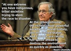 'For the first time in the history of the human species, we have clearly developed the capacity to destroy ourselves' .. Read the article by Noam Chomsky: earthlawcenter.or...