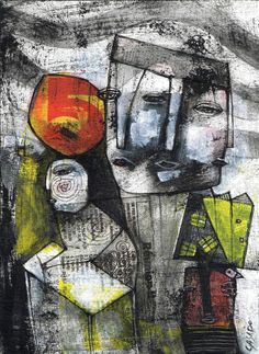 DAN CASADO outsider folk raw art THE WRITER original collage painting paper