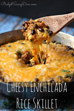 This WAS AMAZING!!!! My whole family LOVED it!!! Super Cheesy! Cheesy Enchilada Rice Skillet Recipe #cheesy #enchilada #rice #budgetsavvydiva via budgetsavvydiva.com