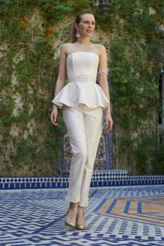Brides: Stephanie Allin Couture - Beaded lace strapless wedding jumpsuit with a peplum waist and detailed belt, Stephanie Allin Couture Wedding Dresses 2014, Wedding Dress Styles, Designer Wedding Dresses, Wedding Attire, Bridesmaid Dresses, Wedding 2017, Wedding Blog, Lace Wedding, Destination Wedding