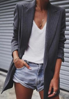 #spring #outfits Grey Striped Blazer + White Tank + Bleached Denim Short