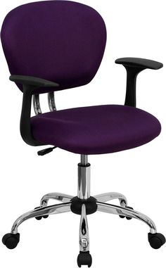 Flash H-2376-F-PUR-ARMS-GG - Mid-Back Purple Mesh Task Chair with Arms and Chrome Base Sale Price: $76.23