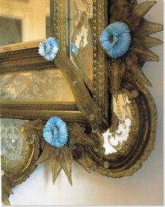 French opaline details on mercury mirrors, c.1700s