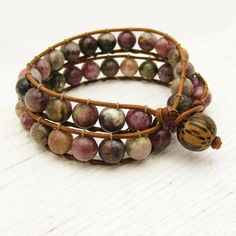 Tourmaline & Leather Double Wrap Bracelet / watermelon pink green fruit colors / rustic country design / bohemian fashion chan luu style. $125.00, via Etsy.
