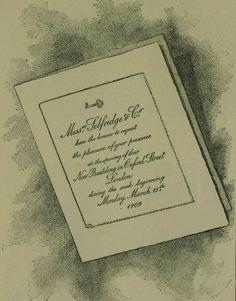 Original Invitation to the opening ceremony of Selfridges (1909)