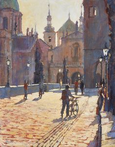 'Crossing Charles Bridge, Morning Sun, Prague'  Original, Acrylic on Board, Framed  £1450.00