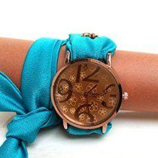 HarmonyHourWatches: Amazon.it: Handmade Orologio a bracciale avvolto attorno al polso con il cinturino di seta turchese. Quadrante grande color café, Regalo di Natale per donna