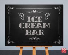 Printable Wedding Sign  Ice Cream Bar  by OhBoyLoveItDigital