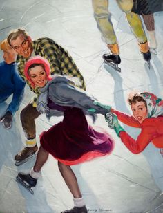 Mainstream Illustration, EMERY CLARKE (American , -1990). Ice Skaters, Saturday Evening  Post cover, March 2, 1940.