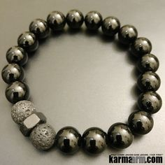 Bracelets I Beaded & Charm Yoga Mala I Meditation & Mantra I Spiritual. Black Onyx Lava Stone.