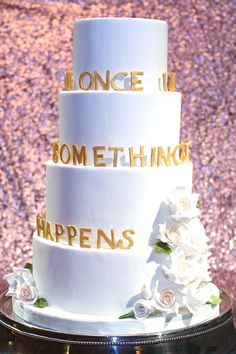 cake with hand-cut sugar letters | Kay English #wedding