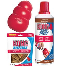 KONG Classic Dog Toy with Bacon Cheese Chew Kit (Extra Large) -- Hurry! Check out this great product : Kong dog toys Kong Dog Toys, Dog Chew Toys, Peanut Butter Chews, Durable Dog Toys, Chicken Treats, Best Dog Toys