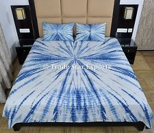 Indigo Tie Dye Bedding Set Handmade Shibori Queen Bedspread With 2 Pillow Cover King Bedding Sets, Luxury Bedding Sets, Bed Linen Inspiration, Fabric Dyeing Techniques, Tie Dye Bedding, Indian Bedding, Shibori, Bed Spreads, Bed Sheets