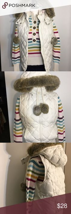 ANN TAYLOR LOFT QUILTED DOWN HOODED VEST EUC! Creamy white with faux fur trimmed hood and pom poms. 70%down/30%feathers. Snaps closed around the neck. Would be great for everyday wear with a sweater and skiing too! LOFT Jackets & Coats Vests