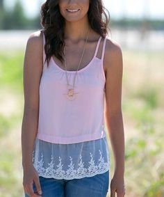 Another great find on #zulily! Blush Lace-Trim Tank #zulilyfinds