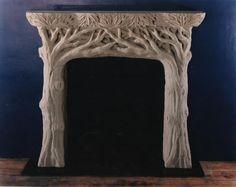 Tree fireplace mantel
