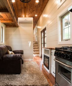 Inside the Retreat you'll find white pine walls, dark stained ceilings, and yellow pine flooring.