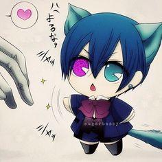 Ciel Phantomhive - Black Butler - Cat chibi - So freaking adorable!