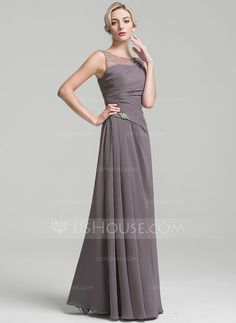A-Line/Princess Scoop Neck Floor-Length Ruffle Beading Zipper Up Regular Straps Sleeveless No Other Colors General Plus Chiffon Mother of the Bride Dress