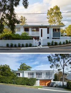 This new home in a quiet suburban street of Brisbane, Australia, is perfectly positioned to take advantage of the corner lot. Corner House, House Front, Corner Lot, Brisbane Architecture, Architecture Details, Outdoor Living Areas, Indoor Outdoor Living, Palm Springs Häuser, White Siding
