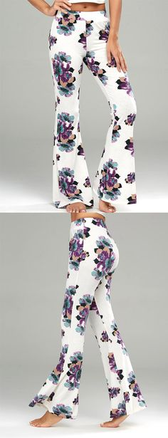 Floral Printed Casual Flare Pants