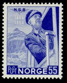 Norway, stamp of engine driver Kristian Alfred Andersen in a steam loco cab