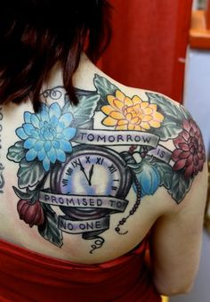 Back piece. Memorial tattoo with clock and flowers. #tattoo #tattoos #ink #inked