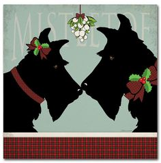Trademark Fine Art Scottie Mistletoe Canvas Art by Stephanie Marrott, Size: 35 x Multicolor Puppy Drawing, Christmas Dog, Vintage Christmas, Christmas Cards, Christmas Pictures, Christmas Themes, White Christmas, Merry Christmas, Westies