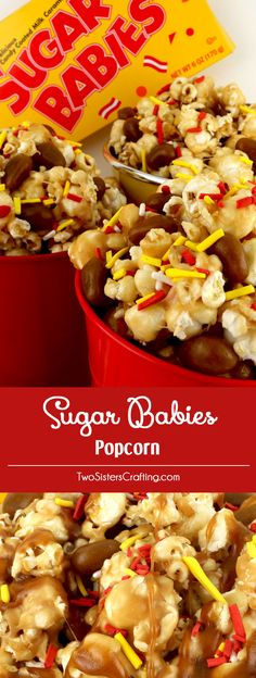 Sugar Babies Popcorn - salty popcorn covered with marshmallow mixture and chewy caramel Sugar Babies candy. Mmm .. mmm good. Popcorn and Sugar Babies - a classic combination delivered in a brand new way. This is a yummy sweet popcorn treat that your family will love at the next family movie night. Pin this fun and easy dessert for later and follow us for more great Popcorn Recipes.
