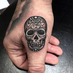 Tiny Black Day Of The Dead Skull Tattoo Guys Hands