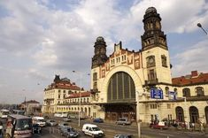 Photo of the Art Nouveau styled building which is home to the Main Train Station in downtown Prague in the Czech Republic. Prague Spring, Art Nouveau, Art Deco, Prague Czech Republic, Central Station, Train Station, Tower Bridge, Cemetery, To Go