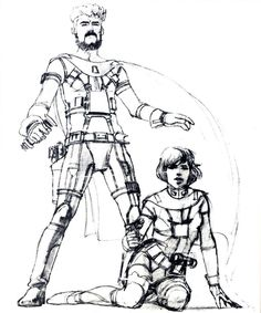 ANH: Ralph McQuarrie's early concept sketch showing Han Solo and Luke Skywalker (sitting).  That's right.  In the earliest paintings and sketches, Han Solo has a light saber (not a blaster) and Luke was actually a young girl.  In later sketches (also found on this Pinterest board), McQuarrie take the Han Solo pose shown here and turns it into Luke Skywalker!