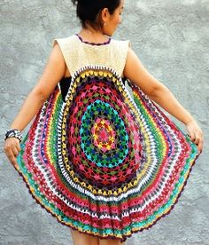 Festival wear. Crocheted vest. Wish I knew where to get it, or get the pattern!