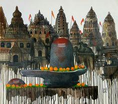 Buy Auronoday artwork number a famous painting by an Indian Artist Mrinal Dutt. Indian Art Ideas offer contemporary and modern art at reasonable price. Shiva Art, Ganesha Art, Krishna Art, Hindu Art, Shiva Stotram, Ganesha Drawing, Lord Krishna, Indian Folk Art, Indian Artist