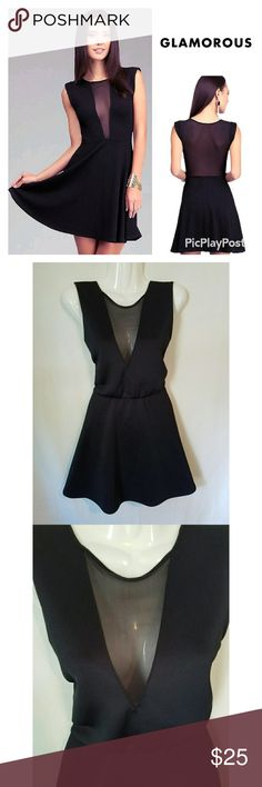 Backless Black Mesh Circle Dress Excellent used condition. Glamorous brand sexy black mesh circle dress. Sleeveless with open back. Ultra flattering fit. Perfect for date night or girls night out! Dresses Mini
