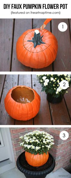 Fabulous Fall & Thanksgiving Decoration Ideas - For Creative Juice DIY Faux Pumpkin Flower Pot. Make this fall flower pot with a faux pumpkin from dollar store for your porch decoration this fall season. Fall Halloween, Halloween Crafts, Holiday Crafts, Halloween Decorations, Fall Porch Decorations, Diy Thanksgiving Decorations, Seasonal Decor, Halloween Flowers, Thanksgiving Table