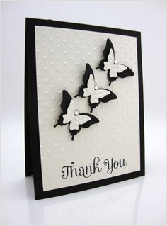 Elegant butterfly punch ; McGill small butterfly punch ; Thank you ; Swiss dots embossing folder