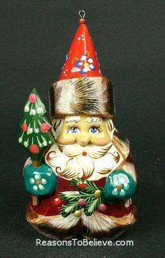 Santa and tree ornament