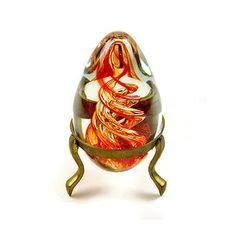 Vintage Paper Weight Murano Art Glass Paper Weight Spiral, Vintage, Orange, Yellow, Egg in Brass Stand Holder 1960s Vintage Glass