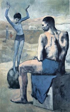Exaggerated scale.   Pablo Picasso - Blue Period - Acrobates