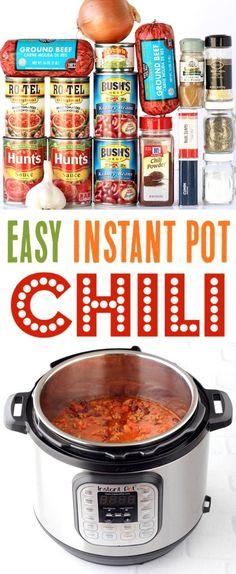 Chili Instant Pot Recipe, Instant Pot Dinner Recipes, Easy Dinner Recipes, Simple Chili Recipe, Easy Recipes, 7 Can Chili Recipe, Easy Instapot Recipes, Healthy Recipes, Instant Recipes