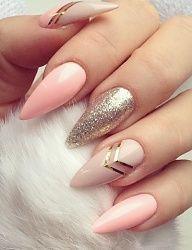 glitter, art, nude-ish #stilettonails