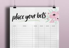 Place Your Bets Sweepstake Poster - Melbourne Cup - Kentucky Derby Day Party - Grand National - Spring Racing - Horse Race Decoration Floral