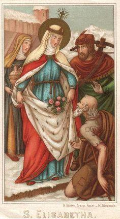 Old holy card image of Saint Elisabeth of Hungary