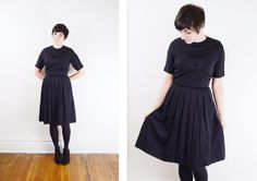 1950s Black Pleated Dress  S by LoveCharles on Etsy, $51.00