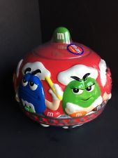 """RED GALERIE MARS M & M'S ROUND COOKIE CANDY FACTORY """"MAKIN' CANDY"""" JAR W/LID"""